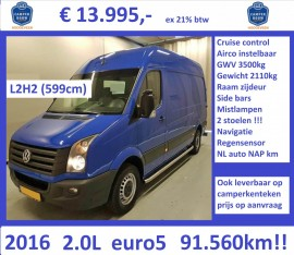 Crafter 2016 2.0L 109pk L2H2 cruise airco 91560km 13.995